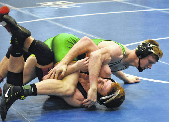 <strong>Andrew Knick pinned Aidan Groves of Fairbanks in the semifinals of the 152 pound weight class at the Xenia Invitational.</strong>