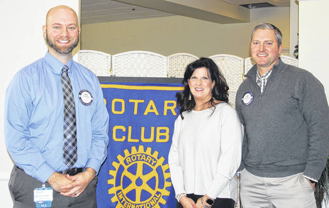 <strong>Pictured with René Chase (center) is Rotary President Brad Rarick (left), and Rotarian speaker sponsor Josh Haynes.</strong>
