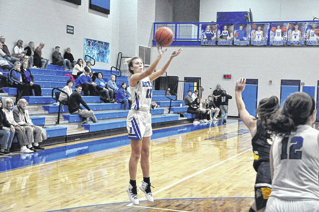 Brookville senior Jessica Brown send this shot toward the basket during Saturday's 58-26 loss to the Monroe Hornets this past Saturday. Brown scored three points in the game.