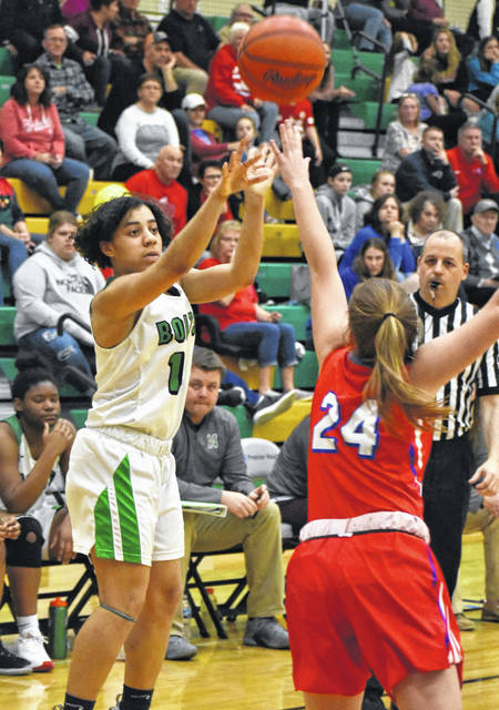 <strong>Kaitlyn McCrary scored a trio of three point field goals against Tri-Village.</strong>