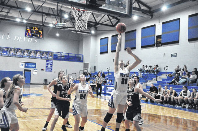 Brookville Lady Devils sophomore Malerie Ross goes up for this shot against Mississinawa Valley in a girls' high school basketball game played last Tuesday at Brookville. Ross scored five points in the game.