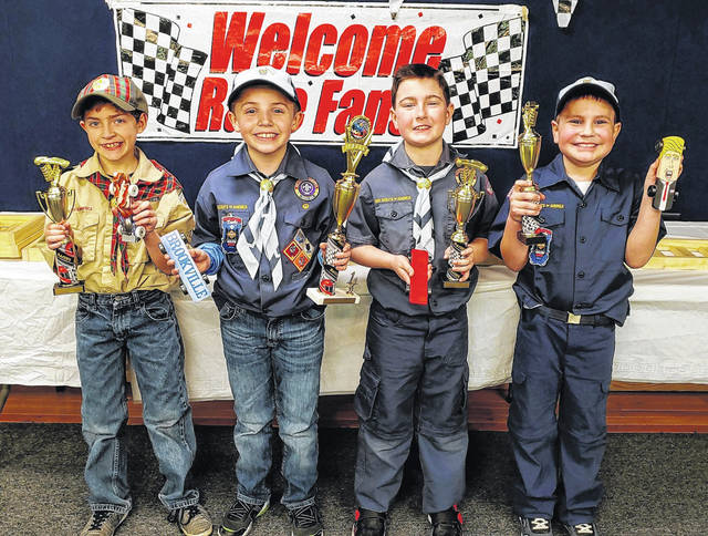 Brookville Cub Scout Pack 47 held its annual Pinewood Derby this past Saturday at the Brookville Music and Events Center. Shown above (from left) are the three place finiehers and Best in Show winner, Samuel Seitz (second), Brandon Klingshirn (first), Calen Robinson (third) and Myles Miller (Best in show).
