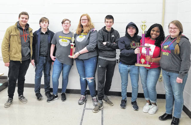 <strong>Pictured from left to right are: Middle School Academic Challenge team members: Ryan Fitzgerald, Ethan Kral, Adam Williams, Hailey Pahl, and high school team members: Sean Scranton, Zach Weeks, Amara Nwanoro, and Samantha Street.</strong>