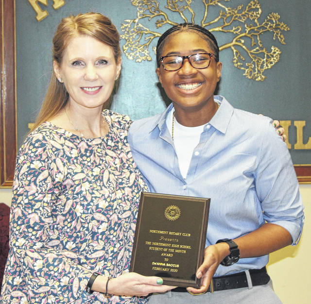 <strong>De'Anna Baccus (right) is pictured with her Student of the Month award along with Northmont Student Assistance Counselor Sheree Coffman.</strong>