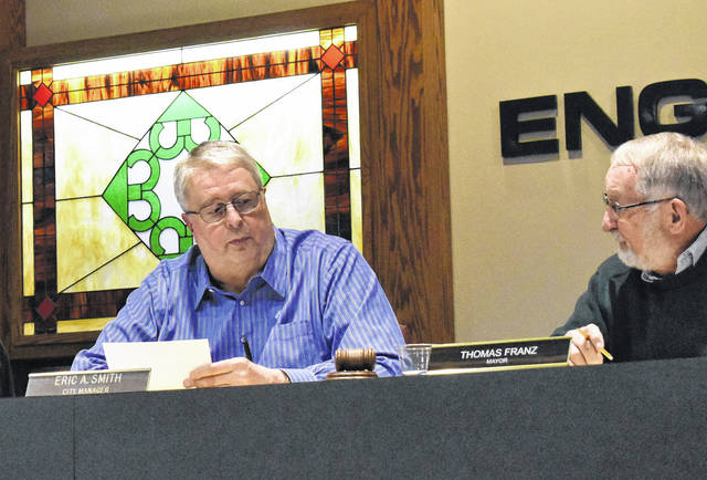 <strong>Englewood city council discussed fire department staffing issues at its Feb. 11 meeting. Pictured is City Manager Eric Smith (left) and Mayor Thomas Franz.</strong>