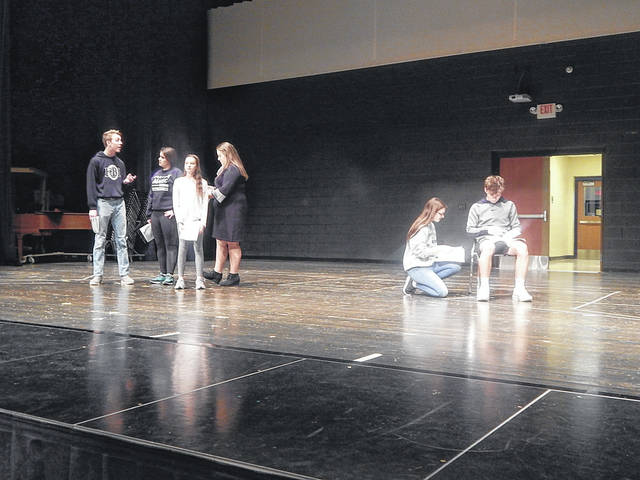 """Some of the cast of the musical """"Beauty and the Beast"""" are shown at a recent rehearsal. The musical will be staged at Brookville High School's Strausburg Auditorium, March 19-21."""