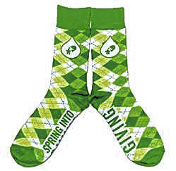 "The ""Spring Into Giving"" green argyle socks that donors at the March 11 Community United Methodist Church blood drive will receive."