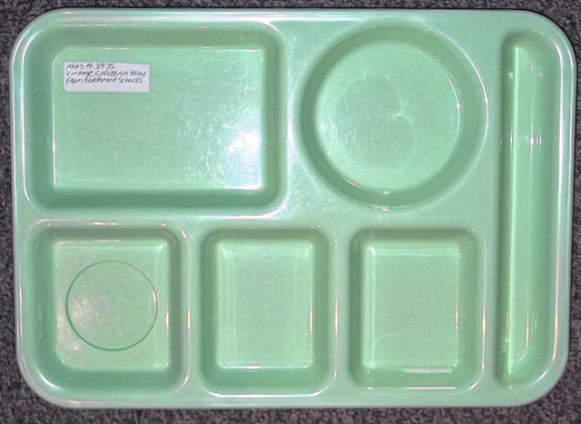 <strong>This plastic lunch tray from Northmont High School is on display at the Randolph Township History Center, 114 Valleyview St., Englewood.</strong>                                  Submitted photo