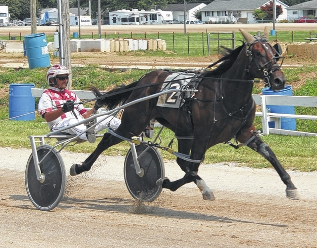 Crown Time Nofooln, driven by Ryan Holton, crosses the finish line to win the 2015 Fayette County Classic Saturday, July 25.