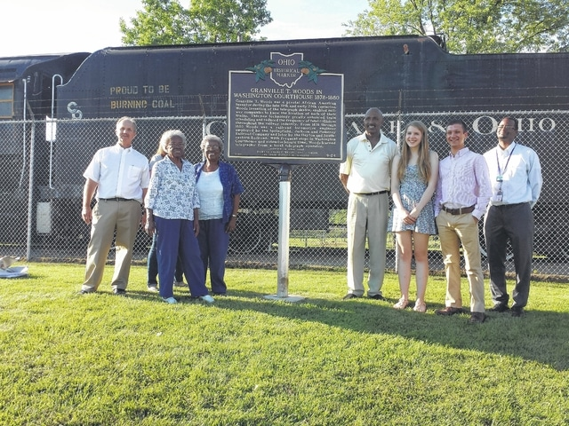A dedication ceremony was held at Eyman Park recently to acknowledge the work of African-American inventor Granville T. Woods, who spent part of his life in Washington Court House and contributed to the railroad industry. Pictured here (L to R): Paul LaRue, local historians May Belle Jones and Clara Belle Yelletts, affiliate with the Charles Wright Museum in Detroit, Michigan and head of the David Head Foundation David Head, 2013 research history class representatives Sarah Nestor and Clayton Lane, and Ohio History Connection local history division representative Anthony Gibbs.