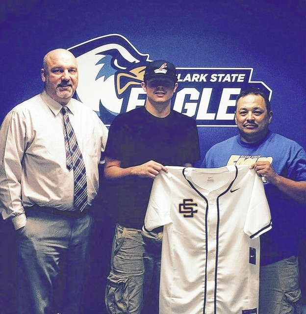 Derrick Marcum, above, middle, a 2015 graduate of Miami Trace High School, holds up a Clark State baseball jersey, along with the Eagles' head coach Cliff Foght, after signing to attend the two-year community college and continue his baseball career. Pictured at left is the school's athletic director, Ken Laake.