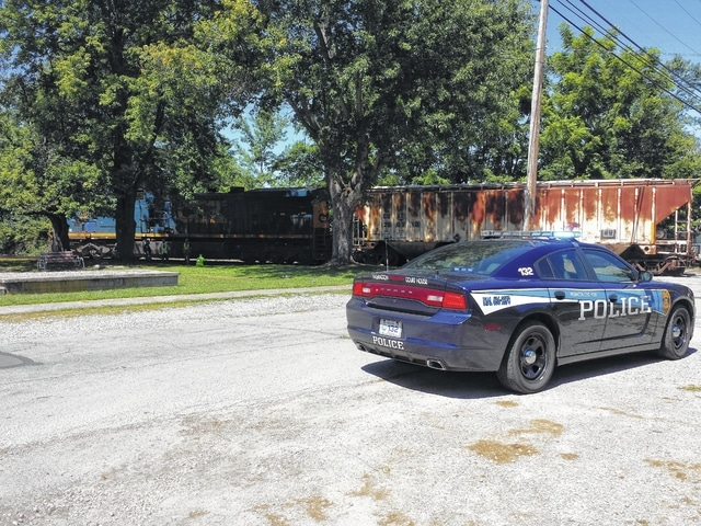 A man on a bicycle was struck by a train Friday morning around 11:30 a.m. on the Pearl Street railroad. Ronald C. Leisure suffered visible injuries and is expected to be flown to a Columbus-area hospital for treatment.