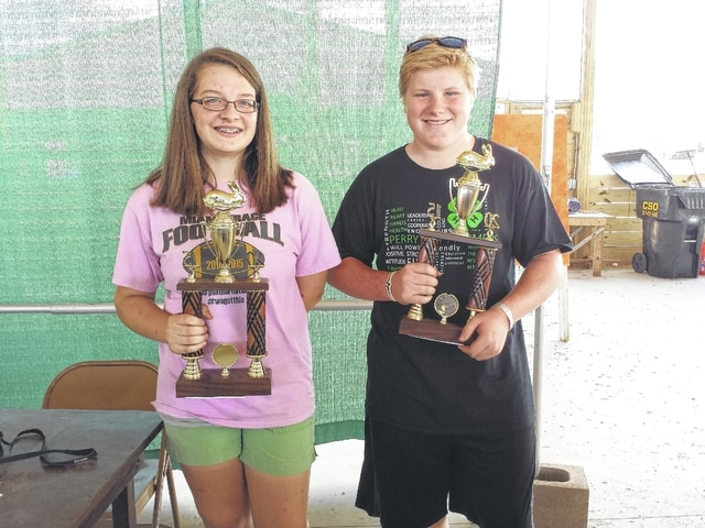 The 2015 Fayette County Junior Fair Rabbit Breed and Meat Identification contest was held Thursday afternoon at the small animal barn. Pictured here are the winners of the contest (L to R): Intermediate Class winner Gretchen Ivers and Advanced Class winner Ely Schirtzinger. Not pictured is the Beginner Class winner Dylan Page.