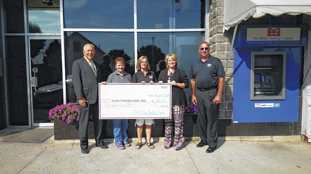 Pictured left to right, Roger Kirkpatrick, Foundation vice-president, Norma Kirby PhD., Foundation secretary, Ruth Murphy, Milton Bank Company assistant vice president, Chelsie Hornsby, director of business development at FCMH, and Lonnie Hunt, Milton Bank Company assistant vice president.