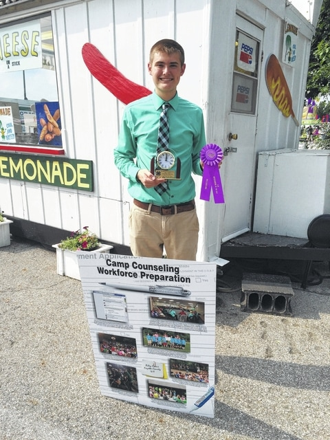 Riley Evans of Washington C.H. won a Clock Trophy at the 2015 Ohio State Fair in the Senior Workforce Preparation category. Evans competed against several other 4-H teen members across the state of Ohio and took the top honors in the senior division. He used his experiences of volunteer camp counseling for Fayette County Cloverbud Day Camp, Fayette County 4-H Camp, and the Operation: Ohio Military Kids Camp within his workforce preparation interview to discuss workforce skills he has learned from these experiences and how they are applicable to his future career. Evans is a member of the Funny Farmers 4-H Club and a senior at Miami Trace High School. Evans is the 17-year-old son of Todd and Raquel Evans.