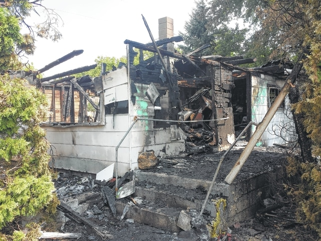 A house fire early Sunday morning at 56 Jasper-Coil Road left the home of Tammy Jester and Jeff Russell destroyed. Three fire departments responded to the scene and worked throughout the morning to extinguish the flame.