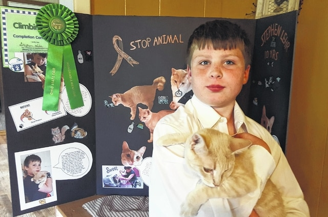 """Stephen Lehr won Honorable Mention for his Cat 2 Project: Climbing Up, on July 31, during the """" Companion Animal Day,"""" at the 2015 Ohio State Fair. On his poster he and his project cat, Bailey, focused on practical ways to prevent animal cruelty. Stephen is the 10-year-old son of Brandon and Mikki Lehr of Bloomingburg and is a proud homeschooler. This is Stephen's second year representing Fayette County with a cat project to the Ohio State Fair, having won Outstanding of the Day in 2014."""