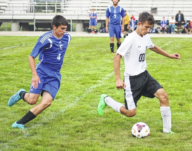 Miami Trace senior Edik Liff (00) controls the ball during an SCOL match against Chillicothe Tuesday, Aug. 25, 2015 at Miami Trace High School.