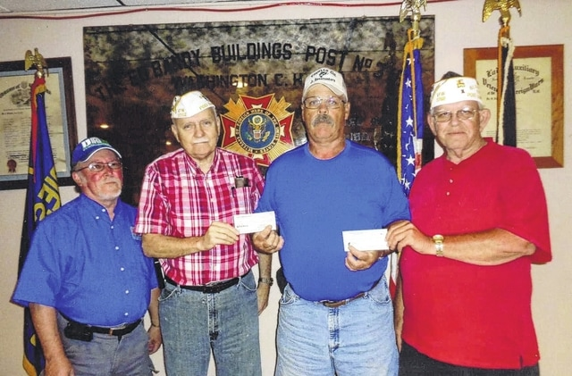 The VFW Post 3762 and Disabled American Veterans (DAV) donated to the Fayette Fish and Game Bow Shoot for disabled vets. Pictured here (L to R): DAV Treasurer Bob Draves, DAV Commander Bob Malone, Bill Green with Fayette Fish and Game, and VFW Commander-1 Sheldon Litton.