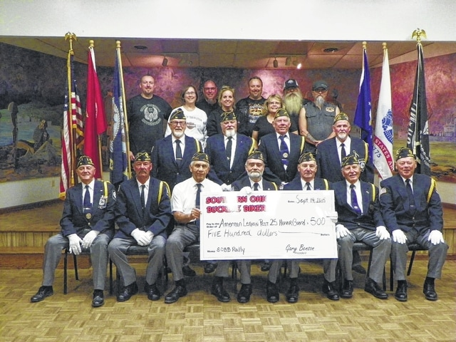 The Southern Ohio Buckeye Bikers recently donated $500 at the American Legion Post 25 to the Fayette County Honor Guard which will go toward allowing them to continue supporting all local veterans and veteran-related events.