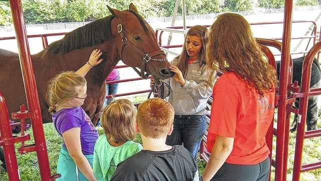 Bethany Reiterman shows a horse to Miami Trace Elementary students at the MT FFA's Fall Harvest Days.