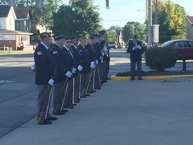 The Fayette County Veterans Honor Guard stands ready to perform the 21-gun salute after the ceremony to commemorate the events of Sept. 11, 2001.