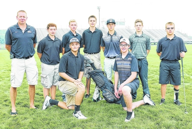 2015 MIAMI TRACE BOYS GOLF TEAM — (front, l-r); Drew Stevens and Lucas Shaw; (back, l-r); coach Kyle McConnaughey, Hayden Walters, Jacob Batson, Cameron Carter, Mitchell Creamer, Ashton Cox and Ryan Arledge. Not pictured: Tyler Eggleton.