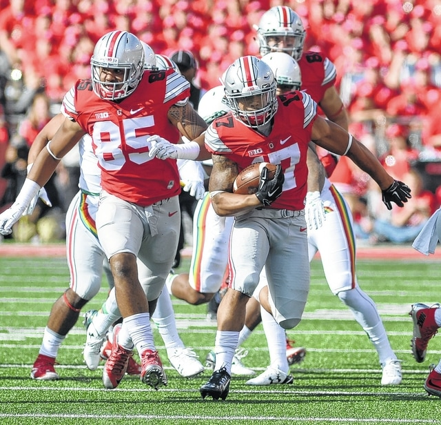 Ohio State's Jalin Marshall returns a punt during the Buckeyes' 38-0 win over Hawaii earlier this season.