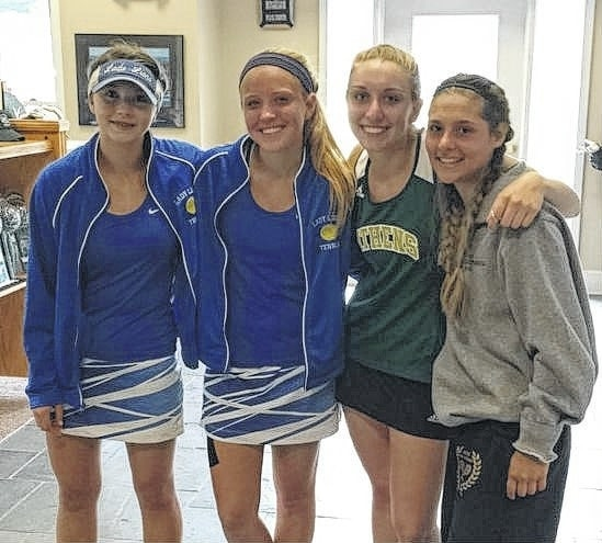 Washington and Athens doubles teams are pictured at the District tournament. (l-r); For Washington, Megan Downing and Anna Nestor and, for Athens, Knavel and Aftabizadeh.