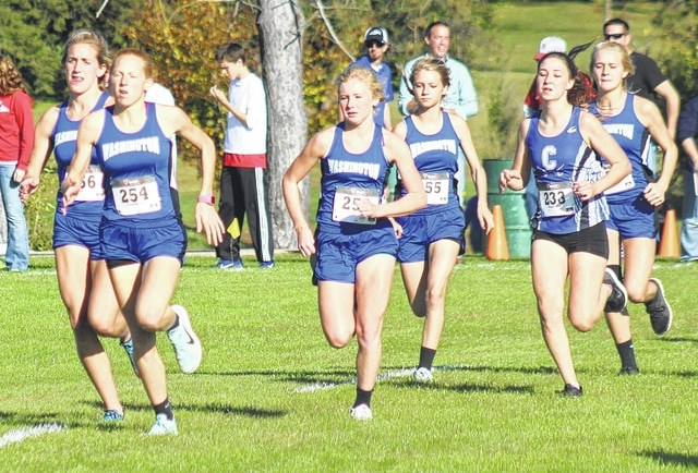 The Washington Lady Blue Lions are pictured at the start of the SCOL cross country meet Thursday, Oct. 15, 2015 at Wilmington College. (l-r); Kirsten List, Alexis Gray, Maddy Garrison, Alexa Harris and Megan Rohrer (in behind the runner from Chillicothe).