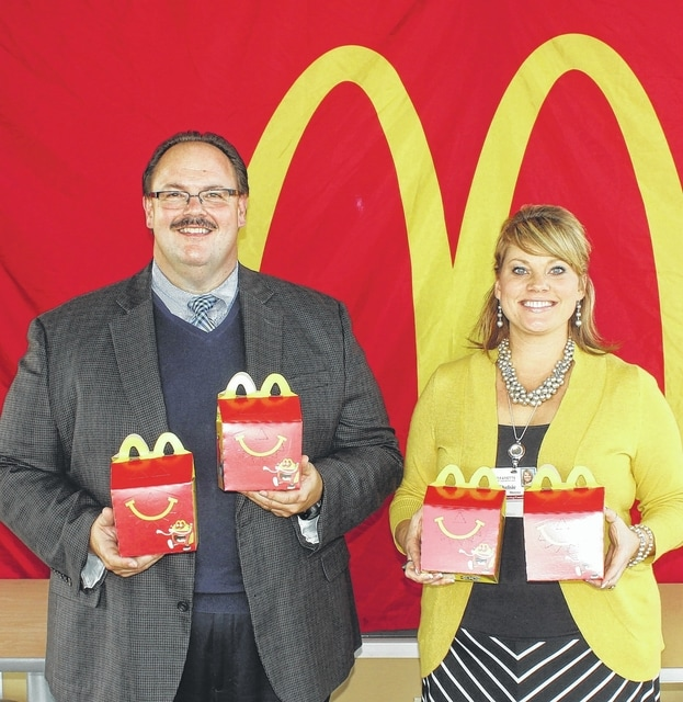 "Nick Epifano, owner/operator of McDonald's of Fayette County, and Chelsie Horsnby, FCMH Director of Marketing and Foundation, promote the ""Happy Meals that Help"" campaign to be held on Saturday, Oct. 17 and Sunday, Oct. 18."