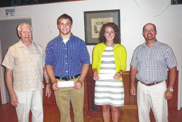 Pictured are: Scholarship committee member and Past Exalted Ruler Ed Helt, Miami Trace Local School winners Dalton Hennes and Natalie Miller, and scholarship committee chairman Matt Barga.