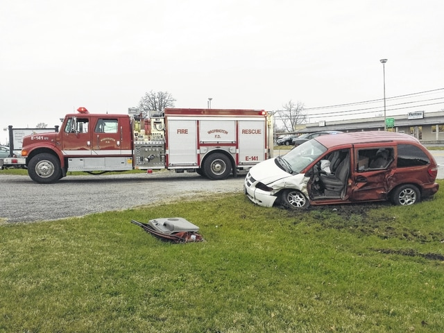 The Fayette County Sheriff's Office and the Washington Fire Department responded to a three-vehicle accident with injury Wednesday afternoon on U.S. 22 in the vicinity of the American Legion Post 25. A red Dodge Caravan minivan, with two occupants, left the nearby parking lot when it entered the westbound lane and into the path of a black Yukon with two occupants, a mother and her child. The Yukon struck the van on the driver's side and was then rear-ended by a grey Cadillac with a single occupant. The two occupants of the van were taken by ambulance from the scene with minor injuries. The others involved declined treatment, according to the FCSO. All vehicles were towed from the scene.