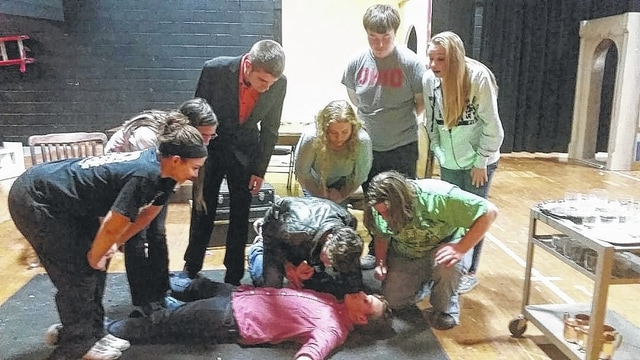 "The Miami Trace Dramatic Arts Club has announced this year's production of ""Clue"" on Nov. 20 and 21 at 7:30 p.m. and Nov. 22 at 2:30 p.m. at the high school. Pictured here are several students rehearsing for the production."