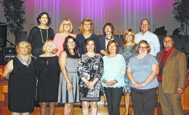 Board of directors and staff from LIFE Pregnancy Center attended the annual fundraiser banquet. Front row (left to right) Helen Sharp, Carol West, Shena Weade, Melina Dugan, Kathy Dean, Angela Duvernay, and comedian and keynote speaker, Dan Kulp. Back row (left to right) Colleen Coole, Dawn Funari, Barbara Fox, Kathy Schriver, Suzie Janasov and Larry Schriver.