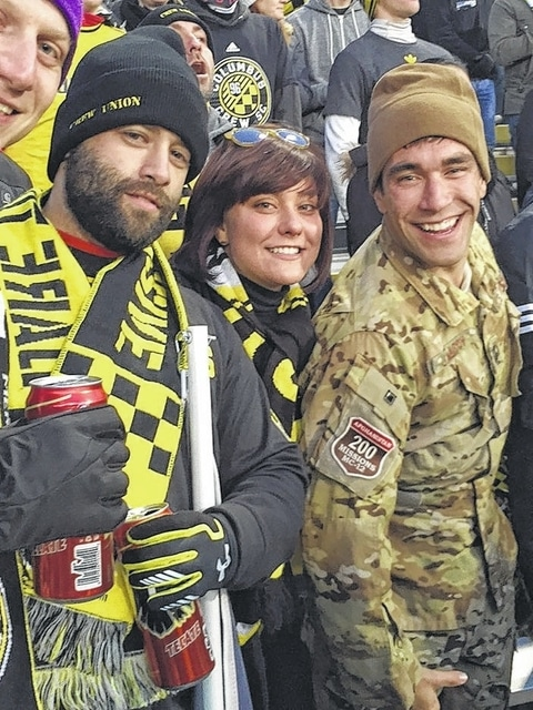 Janasov was also honored at a Columbus Crew game on Nov. 22 for his service to the country. He is pictured here with Janasov, his brother-in-law Eric Torgerson, and sister Amanda Torgerson.