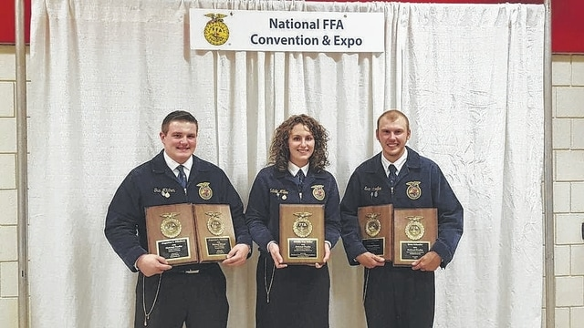 Gus Mitchem, Natalie Miller and Evan Schaefer all competed as FFA National Proficiency Finalists recently at the 88th-annual National FFA Convention in Louisville, Ky.