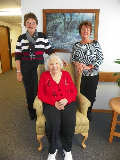 From left to right, Linda Hatmaker; original property manager, Norma Coil; resident of Seton since December 1995; and Rita Boggs, current property manager.
