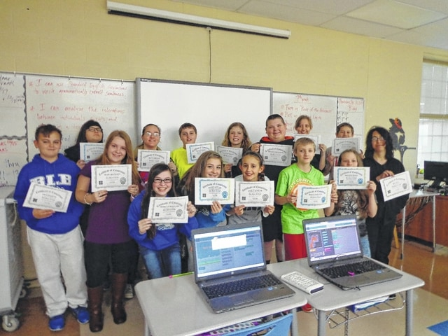 The seventh grade class also received awards for participating in the Hour of Code.