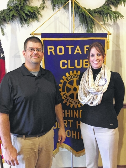 Local entrepreneur Brian White and Rotary President Angie Mellott at a recent Rotary Club meeting.
