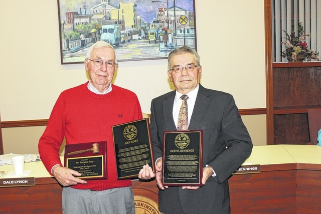 Ben Roby and Steve Jennings, who both served on the Washington C.H. City Council for 12 years, were honored Monday evening during their final council meeting.