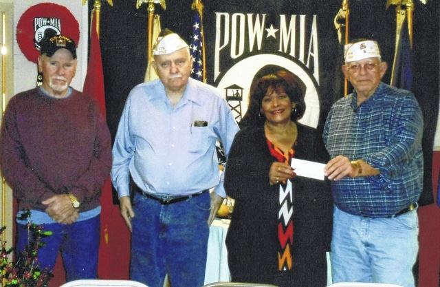 The VFW Post 3762 recently donated to Socks. Pictured (L to R): Tom Smith, Bob Malone, Julie Stepter and Sheldon Litton.