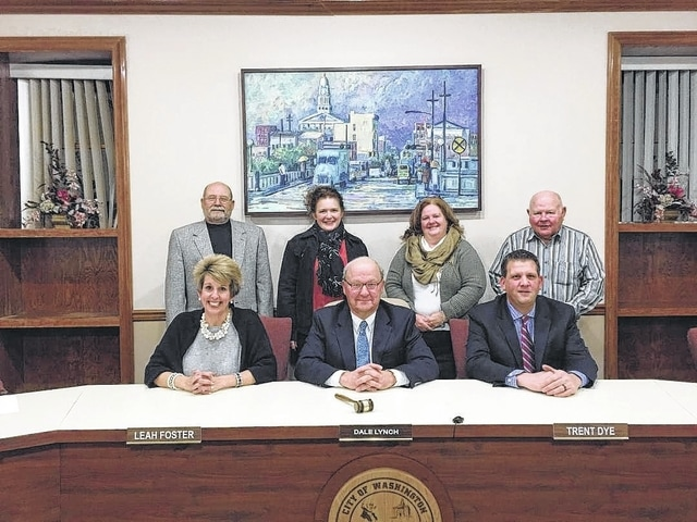 The Washington C.H. City Council met for its first regular meeting of 2016 on Wednesday. The new council consists of: (front row, left to right) vice chair Leah Foster, chairperson Dale Lynch, Trent Dye, (back row, left to right) Ted Hawk, Kendra Redd-Hernandez, Kim Bonnell, and Jim Chrisman.