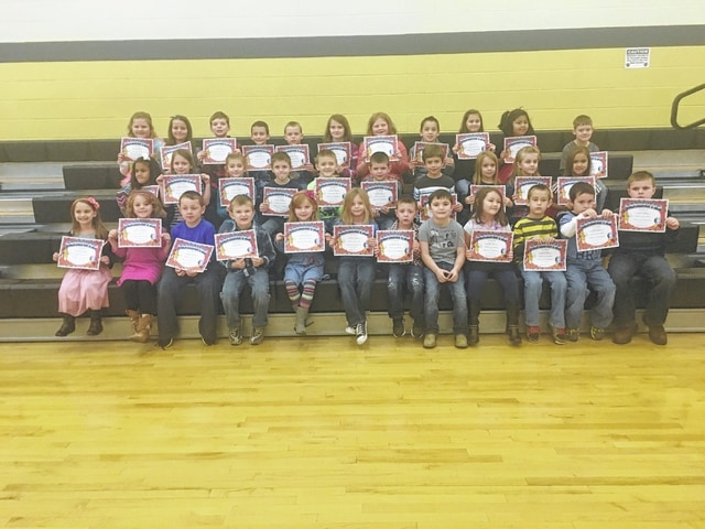 The following students received recognition for being Students of the Month for the month of December at Miami Trace Elementary School. These students were chosen for showing self-control at school each and every day and were treated to Donato's Pizza with the principal. Front Row: Zoey Penrod, Skylar Carlsgaard, Pierce Stanley, Landon Horton, Fiona Shouse, Autumn Burgess, Carter Gray, Kamdyn Penwell, Cailin Blair, Levi Griffin, Ralph Moser and Levi Wilson. Middle Row: Jayda Jones, Hailey Hundley, Lindsie Vanhoose, Coty McMillin, Gage Henry, Brock McBee, Dylan Ely, Madison Huston, Sadie Keller and Oliviya Dunn. Back Row: Adrienne Jacobson, Gabby Matthews, Paul Lambert, Brady Heinz, Preston Lucas, Kamika Bennett, Lilly Hamilton, Janson Smith, Natalie Hildreth, Andrea Zunun and Garth Smith-Anderson.