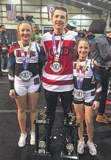 Marting siblings excel in cheer, dance competition — (l-r); Aria Marting, Ethan Marting and Laurel Marting, all brought home top honors from a competition in Columbus in December.