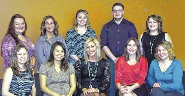 The ninth graduating class of Southern State Community College's respiratory care program includes (front, l-r) Christina Kiley, Mandy Landman, Krista Putman, Lacie Williams, Jill Towler; (back, l-r) Amy Sergent, Kendra McCoy, Amber Brown, Frank Pittman, and Kristine Bailey. Absent from photo is Christopher Henderson.