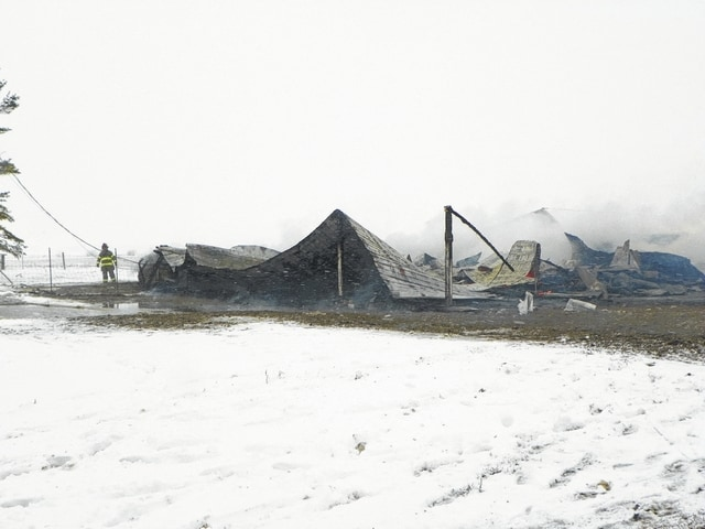 Bloomingburg Paint Marion Joint Fire District responded to a barn fire at 11139 Post Road in Fayette County at 3:31 p.m. By 4:30 p.m. the building lay in ruin with nothing but scraps of metal remaining. Several animals were also caught and killed in the fire.