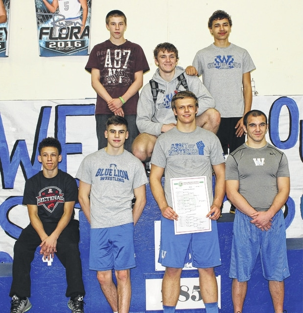 WASHINGTON 2016 DISTRICT QUALIFIERS — The Blue Lions have seven student-athletes advancing to the District wrestling tournament that begins Friday and continues Saturday at Wilmington High School (front, l-r); Tre Thomas, Chris Conger, Trevor Hicks, Steven Willis (back, l-r); Chris Martin, Mason McCane and Zane Nelson.