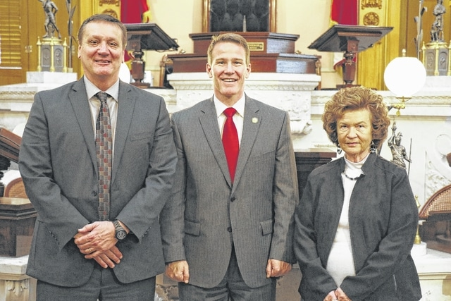 Several locals were recently swore in to serve on the Fayette County Board of Elections. Pictured here: Dan Roberts, Secretary of State Jon Husted and Judy Craig.