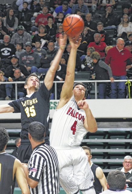 Miami Trace sophomore Darby Tyree vies for the opening tip against Fairfield Union's Colin Woodside during a Division II District semifinal game at the Ohio University's Convocation Center Friday, Feb. 26, 2016.